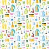 foto of dust-bin  - Cleaning washing housework dishes broom bottle sponge icons seamless pattern vector illustration - JPG