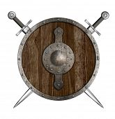 picture of berserk  - Crossed swords and wooden round shield isolated - JPG