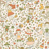 pic of bee cartoon  - Gentle seamless pattern with children in the garden - JPG
