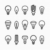 stock photo of fluorescent light  - Light bulb icons - JPG