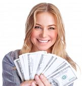image of money prize  - Closeup portrait of cute smiling girl winning money - JPG