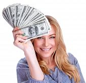 stock photo of money prize  - Portrait of attractive cheerful female showing many banknotes of one hundred dollars - JPG