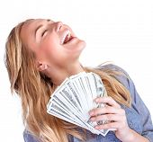 stock photo of money prize  - Happy owner of money - JPG