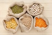 picture of peas  - hessian bags with cereal grains - JPG
