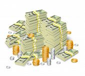 pic of money prize  - Realistic 3d dollar cash banknotes stack money and coins tower concept vector illustration - JPG