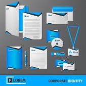 picture of letterhead  - Blue geometric technology business stationery template for corporate identity and branding set isolated vector illustration - JPG