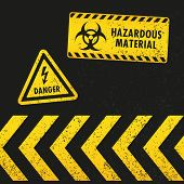 pic of hazardous  - A set of grungy hazard signs with danger arrows - JPG