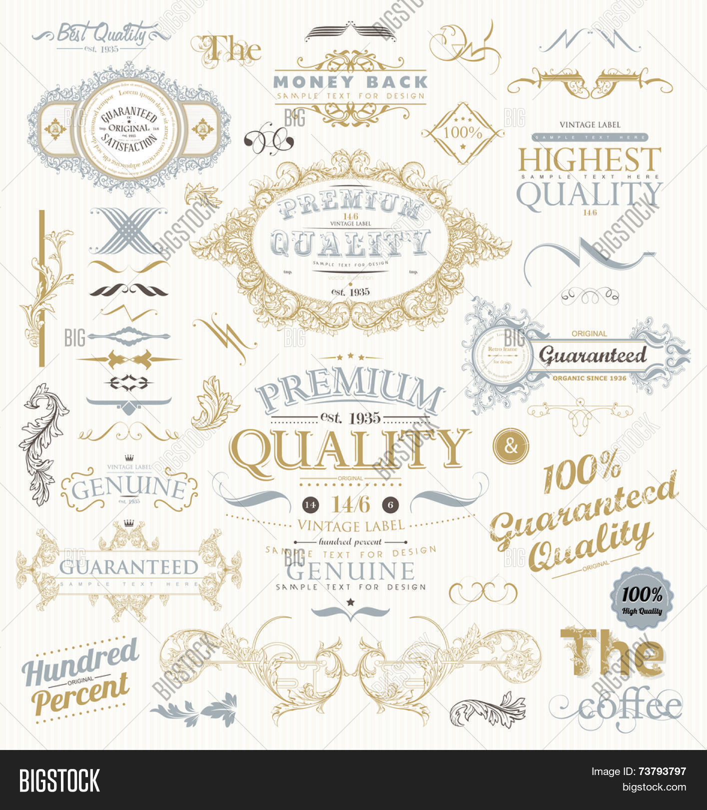 Vintage style ornaments - Vintage Vector Design Elements Collection Retro Style Typographic Labels Frames Tags Stamps