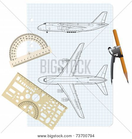 exercise book with a drawing for a model airplane. Vector illust