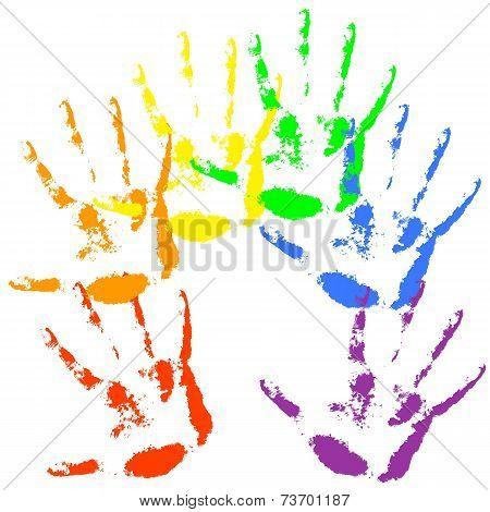 Hand print  rainbow colors, skin texture pattern, vector illustr