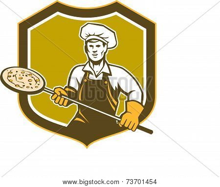 Pizza Maker Holding Peel Shield Retro