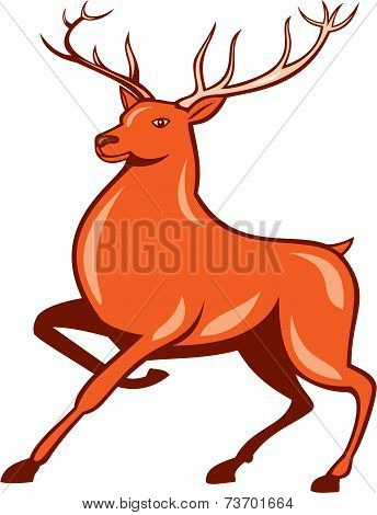 Red Stag Deer Side Marching Cartoon