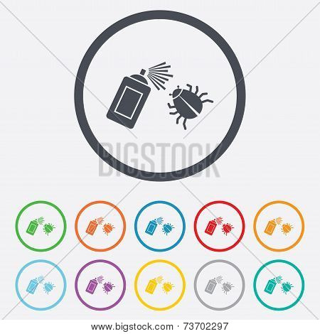 Bug disinfection sign icon. Fumigation symbol.