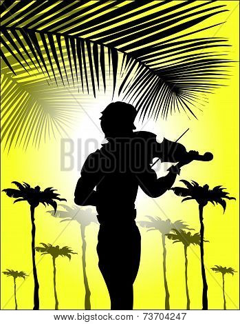 Silhouette Of Violinist On Sunset Background