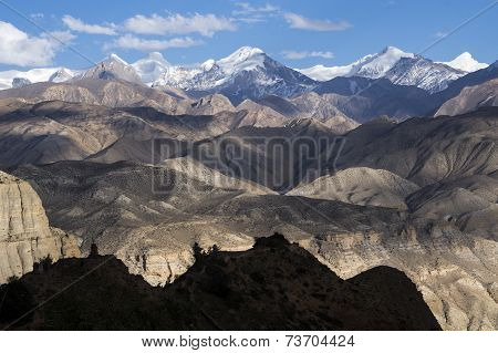 View Of High Mountains And Desert Altitude In Mustang
