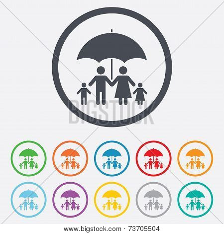 Complete family insurance icon. Umbrella symbol.