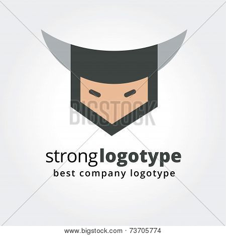 Abstract viking face logo icon concept isolated on white background for business design. Key ideas i