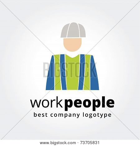 Abstract worker logo icon concept isolated on white background for business design. Key ideas is bus