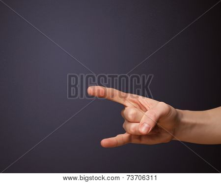 Gun shaped man hand with empty space