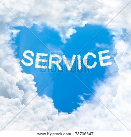 Service Word On Blue Sky