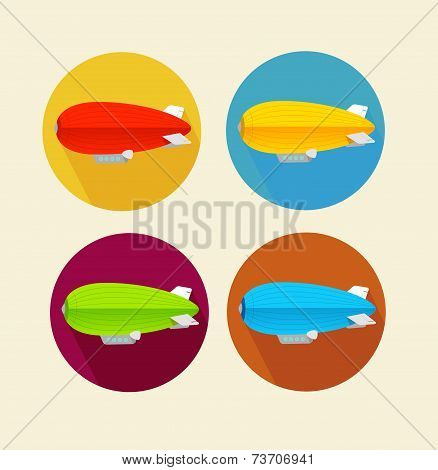 Red dirigible balloon flat icon set.Vector