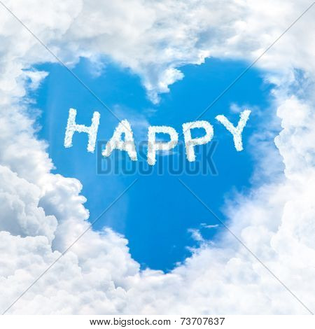 Happy Word On Blue Sky