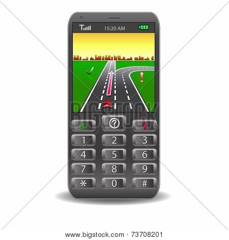 Vector mobile phones,with Global Positioning System street Map