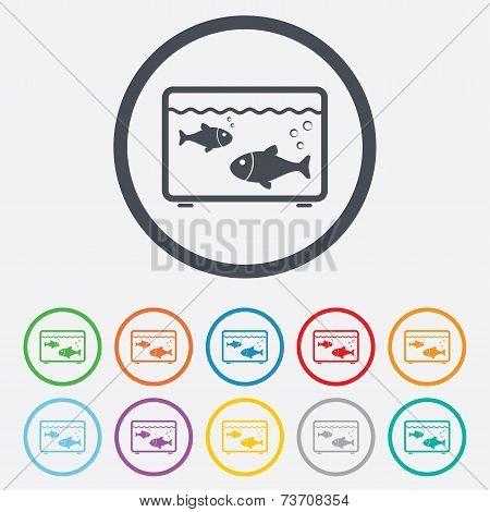 Aquarium sign icon. Fish in water symbol.