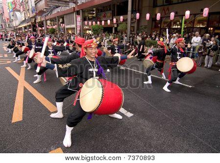Japanese festival taiko drummers