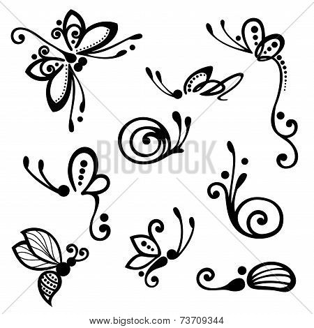 Vector Set of Stylized Ornamental Insects