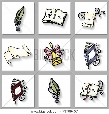 Vector Set of School Supplies with Long Shadow