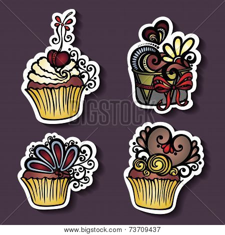 Vector Set of Stickers with Ornate Cakes