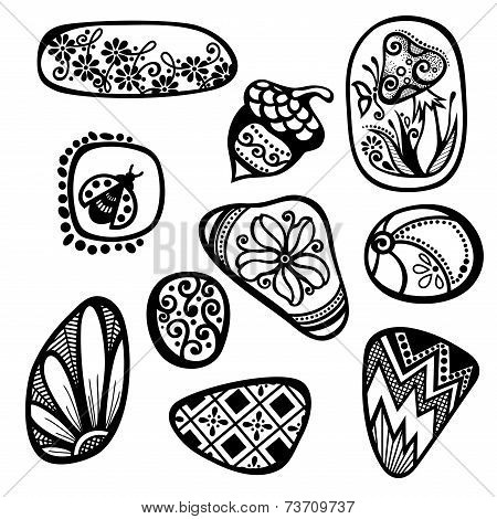 Vector Set of Ornate Pebbles