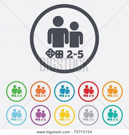 Board games sign icon. 2-5 players symbol.