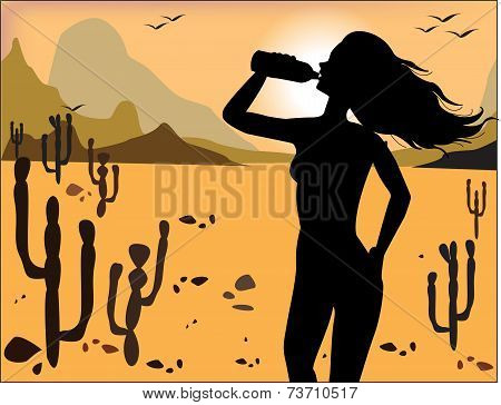 Silhouette Of The Girl Drinking Water On The Background Of The Desert
