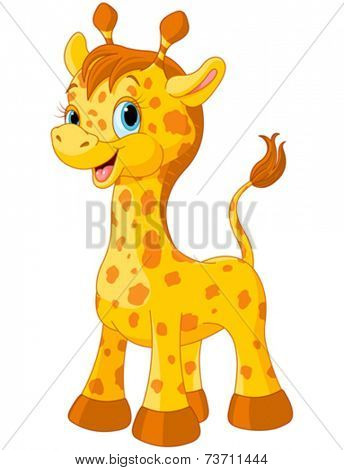 Illustration of little cute giraffe calf