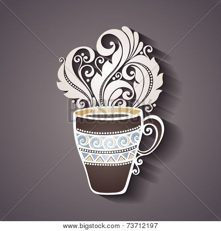 Decorative Cup of Tea with Steam