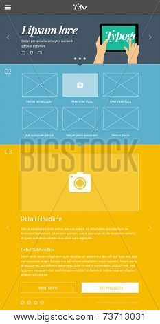 One page website design template based on golden ratio & flat design style with big promo banner area and flat design illustration