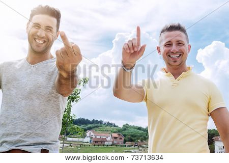 relaxed men making jokes and greetings
