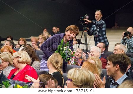 MOSCOW - OCTOBER, 1: Tatyana Koretskaya. Opening Season. Troupe of Theatre Meeting.