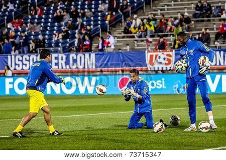 HARTFORD - OCTOBER 10: Ecuadorian players on Rentschler Field stadium before socce match between US Men`s National Team vs Ecuador, on October 10, 2014, in Rentschler Field stadium, Hartford, USA.