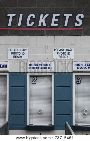 HARTFORD - OCTOBER 10:  Ticket windows at Rentschler Field stadium between US Men`s National Team vs Ecuador, on October 10, 2014, in Rentschler Field stadium, Hartford, USA.