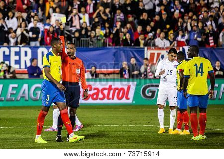 HARTFORD - OCTOBER 10: Action on US Men`s International Friendly match between US Men`s National Team vs Ecuador, final score 1 - 1, on October 10, 2014, in Rentschler Field stadium, Hartford, USA.