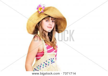Teen Girl Going To The Beach