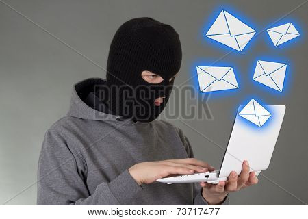 Hacker In Mask Stealing Data From E-mail