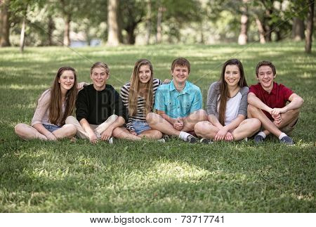 Six Teens Sitting