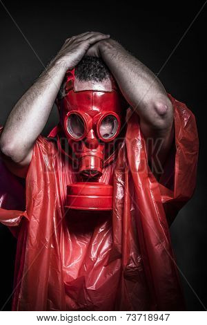 Substance, A man in a gas mask over  the smoke. black background and red colors