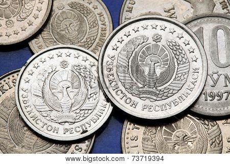 Coins of Uzbekistan. State emblem of Uzbekistan depicted in the Uzbekistani som coins.