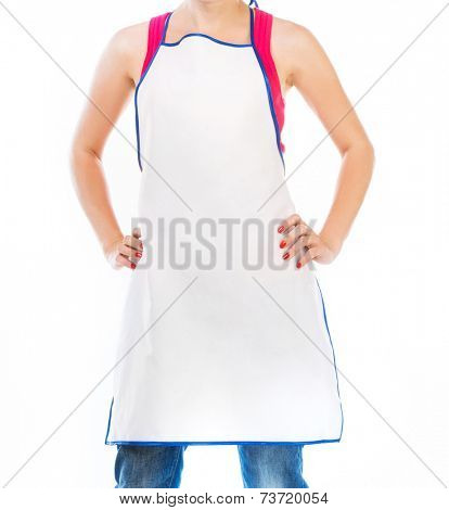 Woman in apron isolated on white