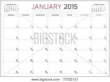 Calendar Planner 2015 Template Week Starts Monday